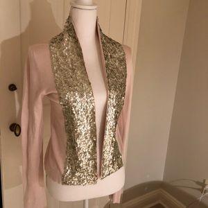 Boston Proper open front pink embellished cardigan